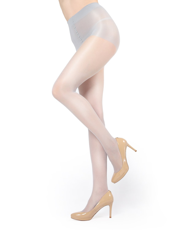 MeMoi Shimmer Pantyhose | Shimmer Sheer Control Top Stockings Silver MM 211 Large