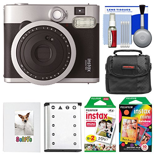 Fujifilm Instax Mini 90 Neo Classic Instant Film Camera with 20 Twin Prints & 10 Rainbow Prints + Case + Battery + Photo Album Kit by Fujifilm