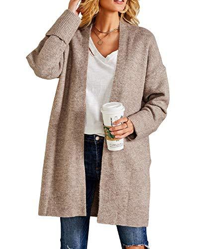 Wool Boyfriend Cardigan (Ferbia Women Open Front Loose Cardigan Sweaters Chunky Long Sleeve Boyfriend Soft Ribbed Knit with)