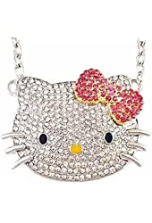 Large Silver Tone Kitty Necklace with Pink Bow, Celebrity Pendant
