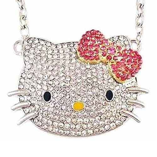 Large Kitty Crystal Pendant Necklace