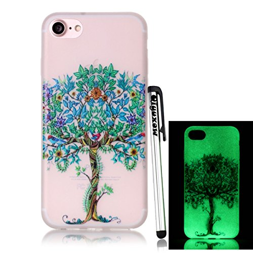 (iPhone 8 Frosted Case, iPhone 7 Luminous Case, Qiyuxow Colorful [Slim Fit] [Anti-Fingerprints] Glow in the Dark Style Soft Gel Silicone Case for Apple iPhone 7 & iPhone 8 (Life)
