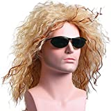 Menoqi Mens Retro 70s 80s Disco Rocker Long Curly Wig Full Hair Wig Fancy Party Accessory Cosplay Wig Mullet Wig (Golden) WIG135