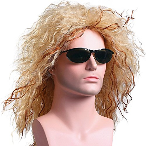 Menoqi Mens Retro 70s 80s Disco Rocker Long Curly Wig Full Hair Wig Fancy Party Accessory Cosplay Wig Mullet Wig (Golden) ()
