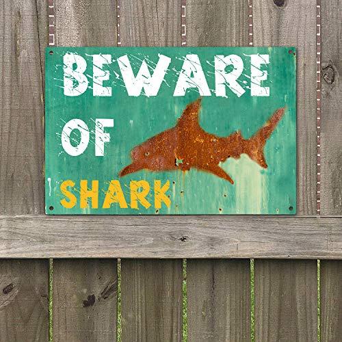 Agantree Art Beware of Shark Warning Sign Vintage Retro Metal Plaque Sign 8