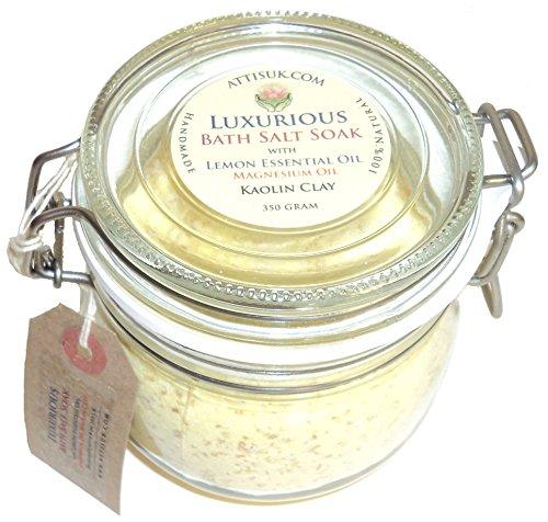 ATTIS Lujoso jabón de sal de baño con aceite esencial de limón, aceite de magnesio, sal rosa del Himalaya, arcilla de caolín vegano hecho a mano relajante ...