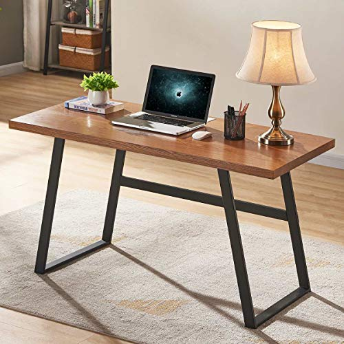 BON AUGURE Rustic Wood Computer Desk, Industrial PC Writing Desk, Vintage Study Table for Home Office Workstation (55 inch, Cherry)