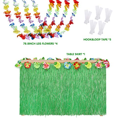 Menghao Hawaiian Grass Table Hula Skirt 9ft with 4Pcs Luau Lei Flower Party 6.6ft Decorations+5 Hook&Loop Tape,Green
