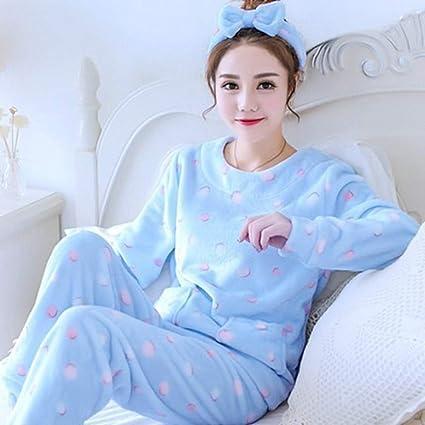 SALICEHB Pijamas Cálidos De Manga Larga para Mujer Pijama Sets Ropa De Dormir De Dibujos Animados