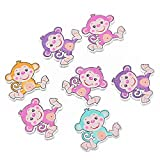 ZARABE 30PCs Cartoon Monkey 2 Holes Wooden Buttons Sewing Scrapbooking 2.9x2.95cm