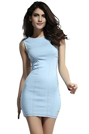 356922be1f Dear-lover Women s Stylish Skintight Denim Dress Large Size Light Blue