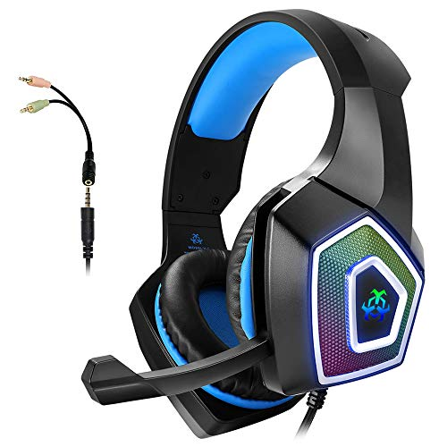 Gaming Headset with Mic for Xbox One PS4 PC Switch Tablet Computer Smartphone, Headphones Stereo Over Ear Bass 3.5mm…