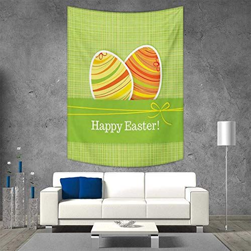 smallbeefly Easter Tapestry Table Cover Bedspread Beach Towel Colorful Eggs Stripes on a Green Checkered Squares Background Festive Banner Dorm Decor Beach Blanket 54W x 84L INCH ()