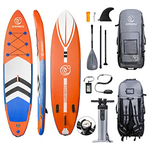 "SURFMASS Inflatable SUP 11' L x 6"" T x 32"" W Stand Up Paddle Board Stance iSUP with Adjustable Fiberglass Paddle"