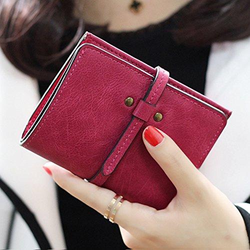 Belle Petit Carte Rose Mini Court Cuir Sac Portefeuille Rouge PU Femme d'Embrayage Mode Bourse Hrph pwqPOt
