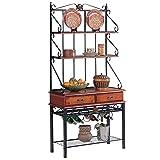 Coaster Brown/Sandy Black Finish Metal & Wood Baker's Kitchen Rack w/Drawers