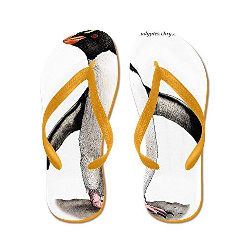 Cafepress Southern Rockhopper Penguin - Chanclas, Sandalias Thong Divertidas, Sandalias De Playa Naranja