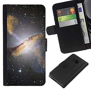 KingStore / Leather Etui en cuir / HTC One M7 / Estrellas del cielo nocturno Hubble Ver fotos Galaxy Amarillo