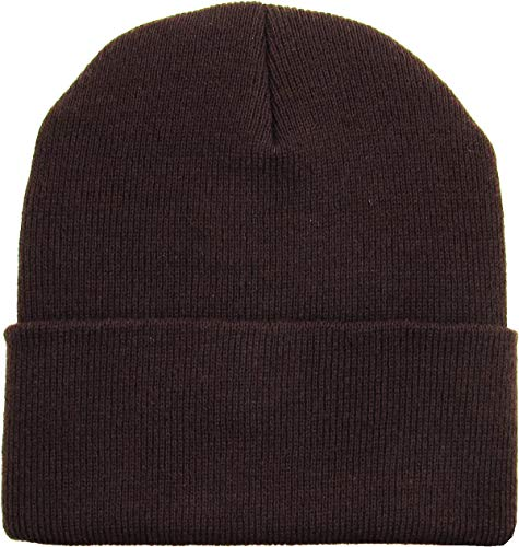 SKIHAT-Long DBR Thick Beanie Skully Slouchy & Cuff Winter Hat Made in USA Brown