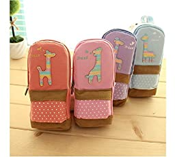 Creative Pencil Case Cute Canvas Large Capacity Double Layers Student Pencil Bag Stationery