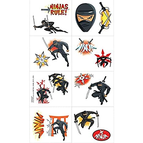 Amazon.com: Amscan Action Packed Ninja Temporary Tattoo ...