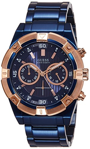 GUESS Men's W0377G4 Iconic Blue Plated Chronograph Watch with Rose Gold-Tone Case & Accents