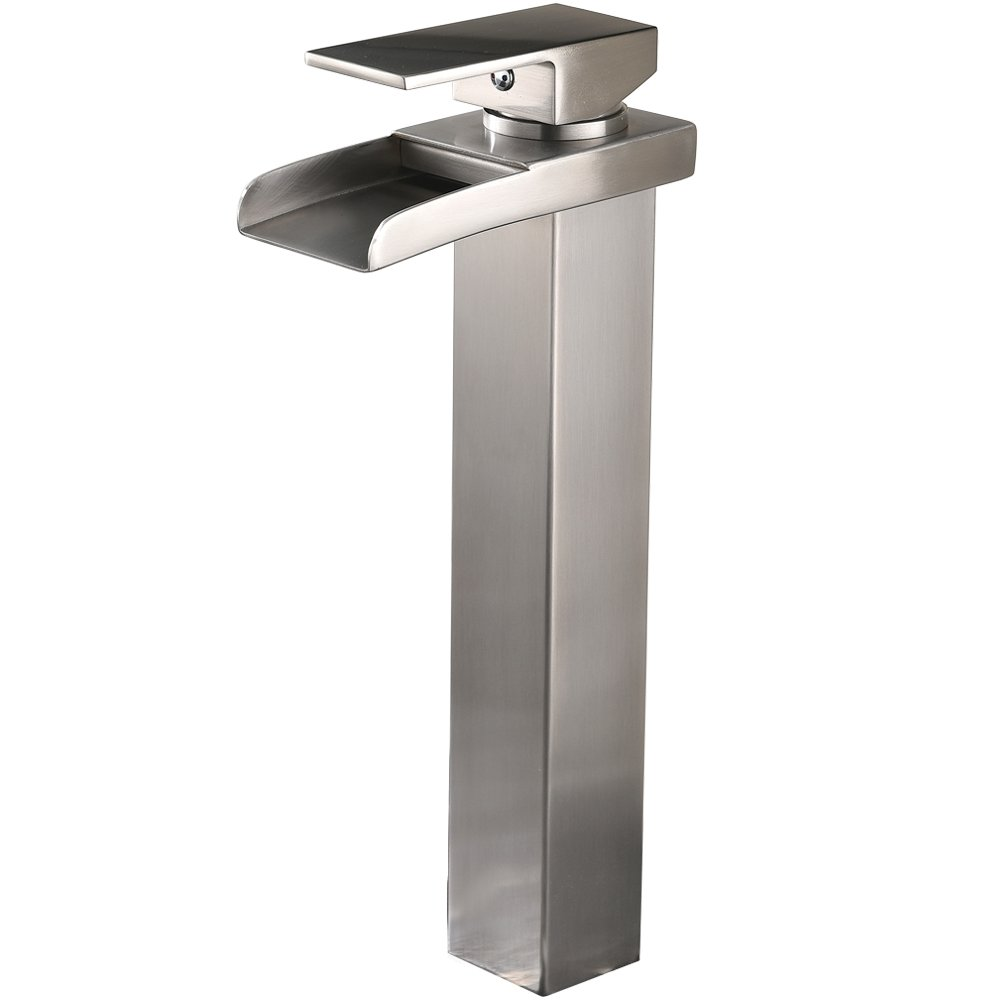Hotis Contemporary Brushed Nickel Single Handle Tall Body Laundry Vanity Waterfall Bathroom Sink Faucet,Deck Mount Tall Body Vessel Sink Faucets