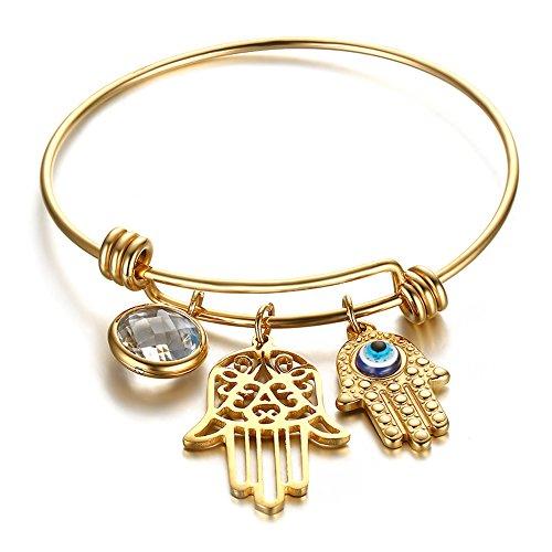 d Hamsa Turkey Turquoise Blue Eyes Charms Bangles Fatima's Hand Bracelets for Women Crystal (14k Heavy Charm Bracelet)
