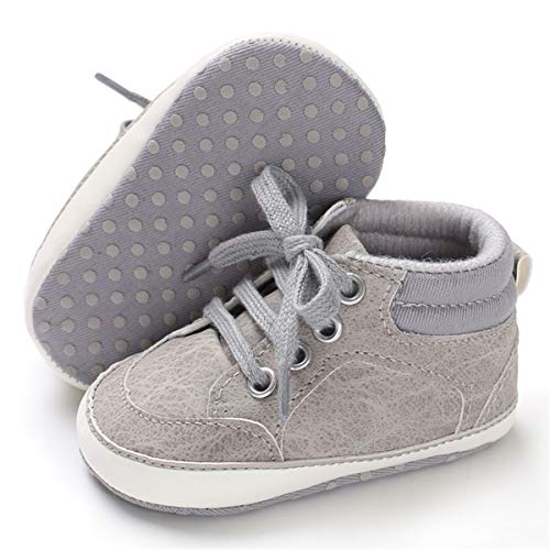 BENHERO Baby Girls Boys Canvas Shoes Toddler Infant First Walker Soft Sole High-Top Ankle Sneakers Newborn Crib Shoes (6-12 Months M US Infant), B-Grey