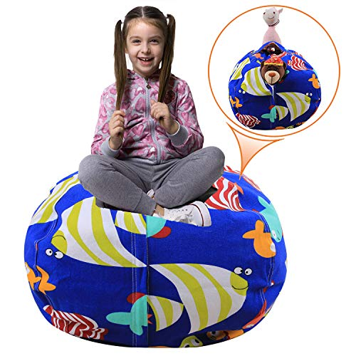 Injoy 38'' Stuffed Animals Bean Bag Extra Large Chair Cover -100% Cotton Canvas Kids Toy Storage Zipper Bags Organizer Comfy Pouf for Boys Girls Toddlar, Blue with Fishes (Fish Bean Bag Chair)