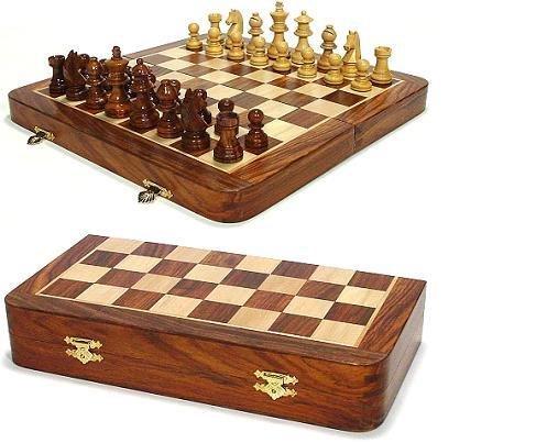 Polished Walnut Magnetic Folding Chess Set