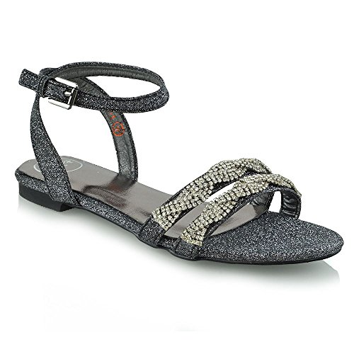Flat Womens Diamante GLAM ESSEX Black Sandals Ankle Summer Sandals Strap qvEZ5nw5Cx