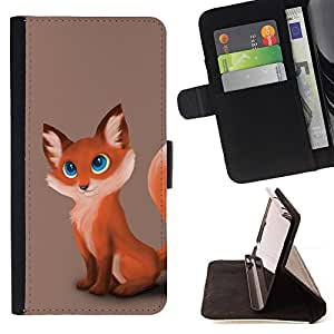 For Samsung Galaxy S4 IV I9500 Cute Fox Cub Leather Foilo Wallet Cover Case with Magnetic Closure