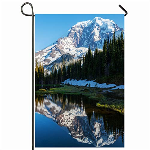 Ahawoso Garden Flag 12x18 Inches Hike Blue America Mt Rainier Nature Parks Mount Calm Cascade Clear Country Glacier Design Decorative Seasonal Double Sided Home House Outdoor Yard Sign