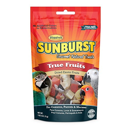 Higgins Sunburst True Fruits Gourmet Treats for Conures, Parrots & Macaws, 5 oz - Parrot Cookies