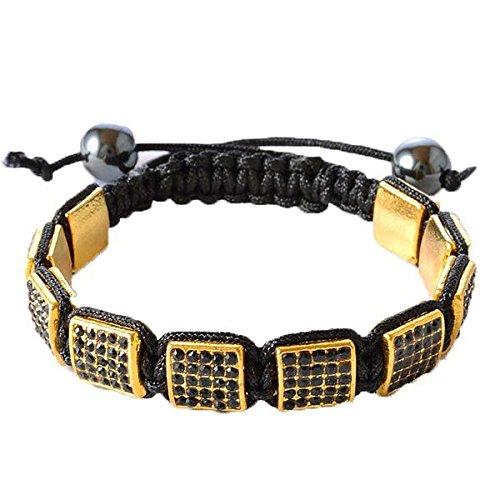 Black CZ Yellow Gold Tone Macrame Beaded Square Beads (Gold Tone Bead Bracelet)