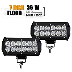 TURBOSII DOT 7 Inch Backup Lights Headlights Led Light Bar Flood Beam Bumper Docking Lights for Pickup Lawn Mower Atv Suzuki F150 Bike Toro Zero Turn Yamaha Jeep Boat Polaris 4Wheeler Golf Cart Truck