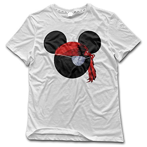 NUBIA Men's Pirate Mouse Pirates Fashion Tshirt White Size L (American Girl Doll Beth)
