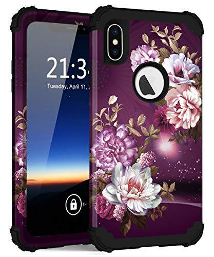 iPhone Xs Max Case, Hocase Shockproof Heavy Duty Protection Hard Plastic Cover+Silicone Rubber Case Hybrid Dual Layer Protective Phone Case for iPhone Xs Max 2018 - Burgundy Flowers