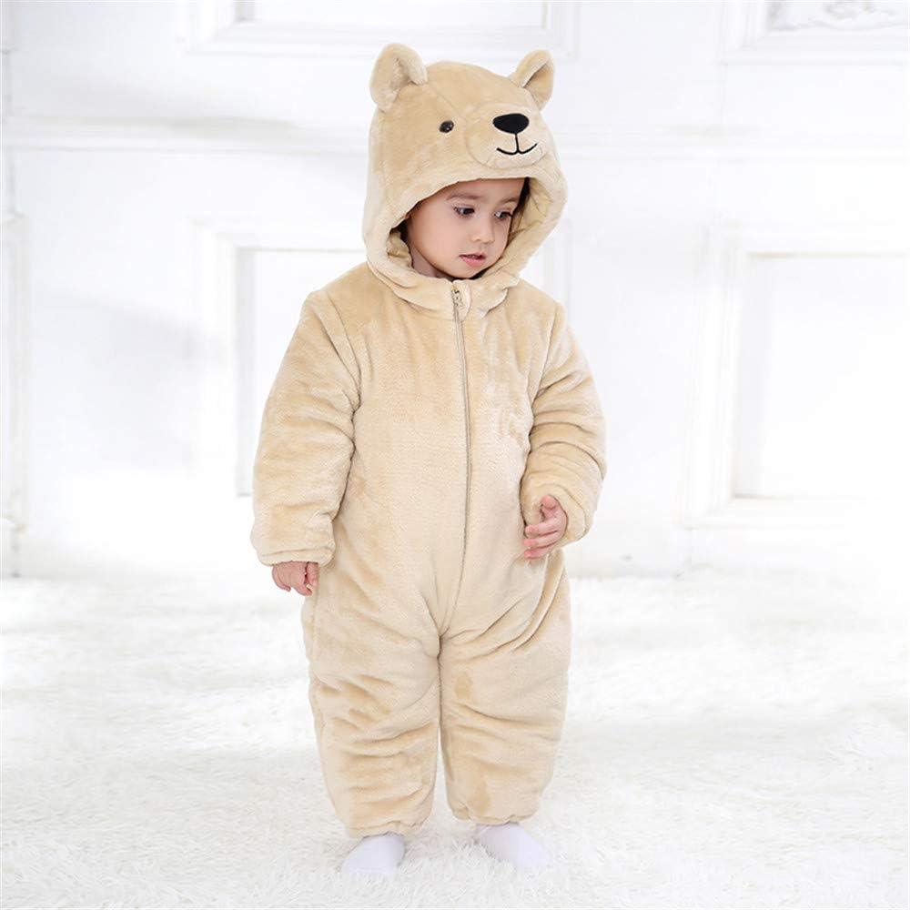 Reci/én Nacido Franela Mameluco Beb/é Unisexo Invierno Jumpsuit Animal Caricatura Trajes 0-24 Meses