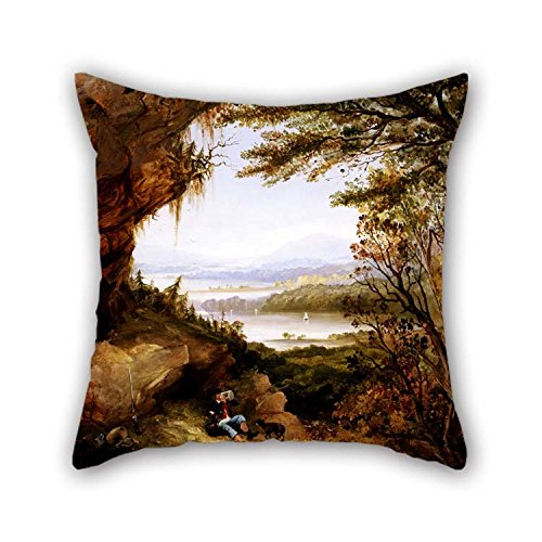 Hudson 24 Bar Stool - beeyoo Pillowcase of Oil Painting James Hamilton - Scene On The Hudson (Rip Van Winkle) for Floor Couch Adults Lover Bar Seat Gril Friend 18 X 18 Inches / 45 by 45 cm(Twin Sides)
