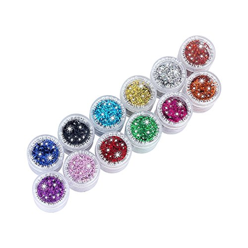 12 Colors Glitter Sparkle Powder for Nail Makeup and DIY
