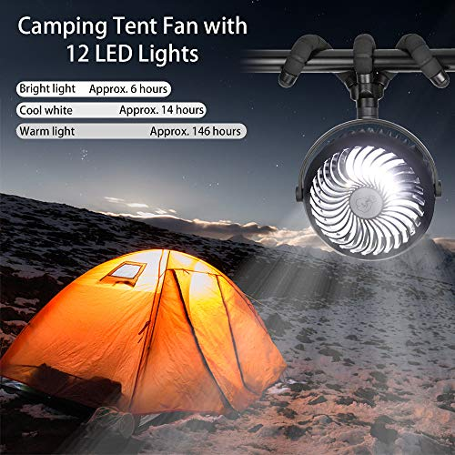 Mini Stroller Fan, Handheld Portable Fan with Flexible Tripod, USB Desk Fan Rechargeable Battery Operated, Camping Fan with 12 LED Lights, Cooling Fan for Baby Pram, Bedside Crib and Indoor workout