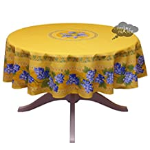 """68"""" Round Grapes Yellow Cotton Coated Provence Tablecloth by Le Cluny"""