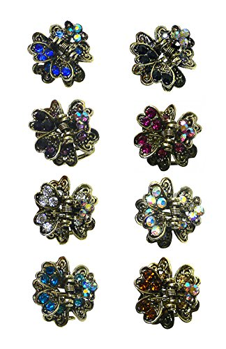 Set of 8 Mini Jaw Clips, Decorated with Sparkling Crystals, LPW864175-6-8