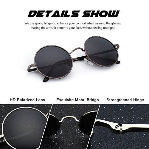 polarizadas para de inspirado y E01 Gris CGID gafas Vintage círculo mujeres 47mm Estilo metálico Retro hombres redondo A Lennon Arma sol w71xqOpv1