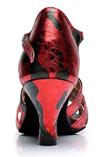 Tda Donna T-strap Peep Toe Floreale Sintetico Sala Da Ballo Moderno Ballo Latino Scarpe Da Sposa 6cm Tacco Rosso