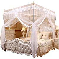 Mengersi Princess 4 Corners Post Bed Curtain Canopy Mosquito Netting (White, Twin)