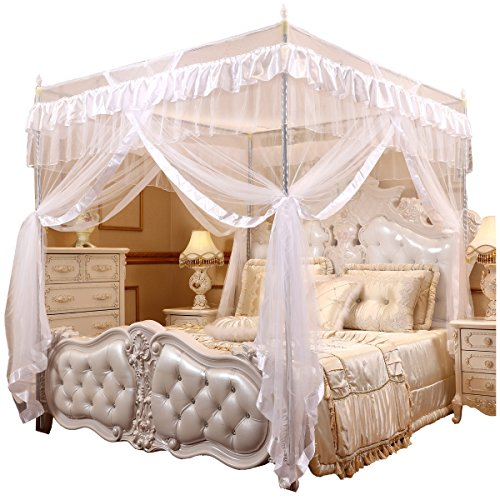 Bed Post (Mengersi Princess 4 Corners Post Bed Curtain Canopy Mosquito Netting (White, Twin))