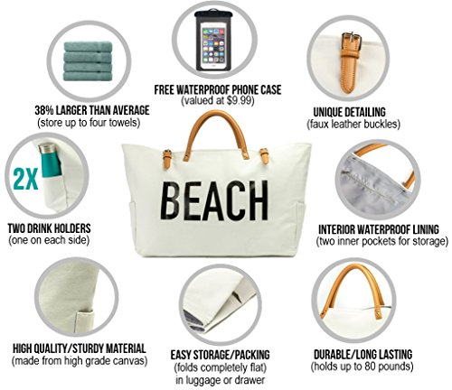 PACO Large Canvas Beach Bag Travel Tote (White), Waterproof Lining, 3 Pockets, FREE Waterproof Phone Case by Paco (Image #3)